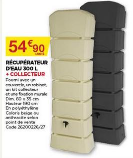 Bricomarché Récupérateur D'eau 300 L + Collecteur