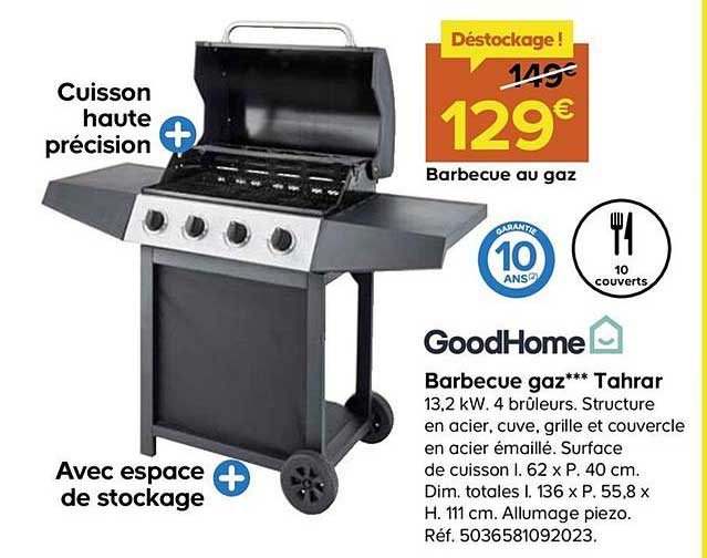 Barbecue gaz GoodHome Tarhar   Castorama