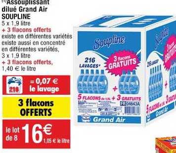 Cora Assouplissant Dilué Grand Air Soupline 3 Flacons Offerts