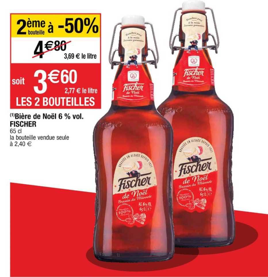 Cora Bière De Noël 6% Vol. Fischer 2ème Bouteille à -50%
