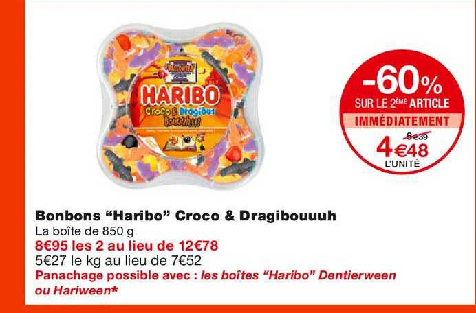 Monoprix Bonbons Haribo Croco & Dragibouuuh -60% Sur Le 2ème Article Immédiatement
