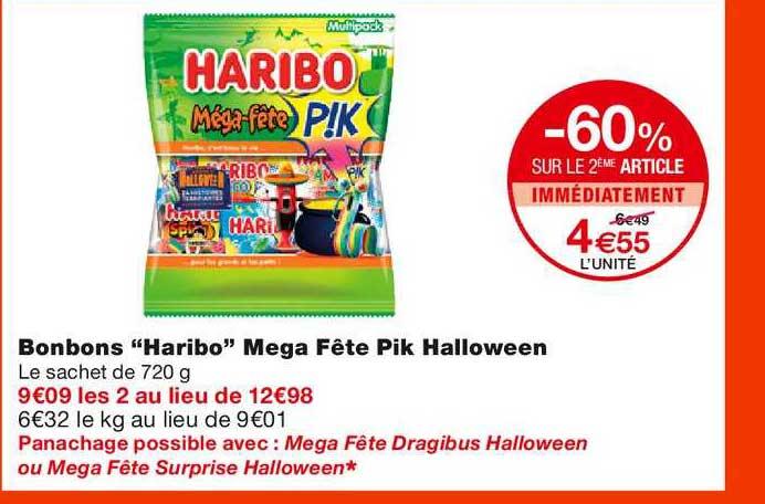 Monoprix Bonbons Haribo Mega Fête Pik Halloween -60% Sur Le 2ème Article Immédiatement