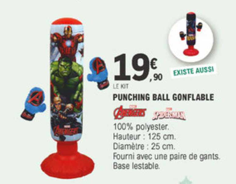E Leclerc Punching Ball Gonflable Avengers Spiderman