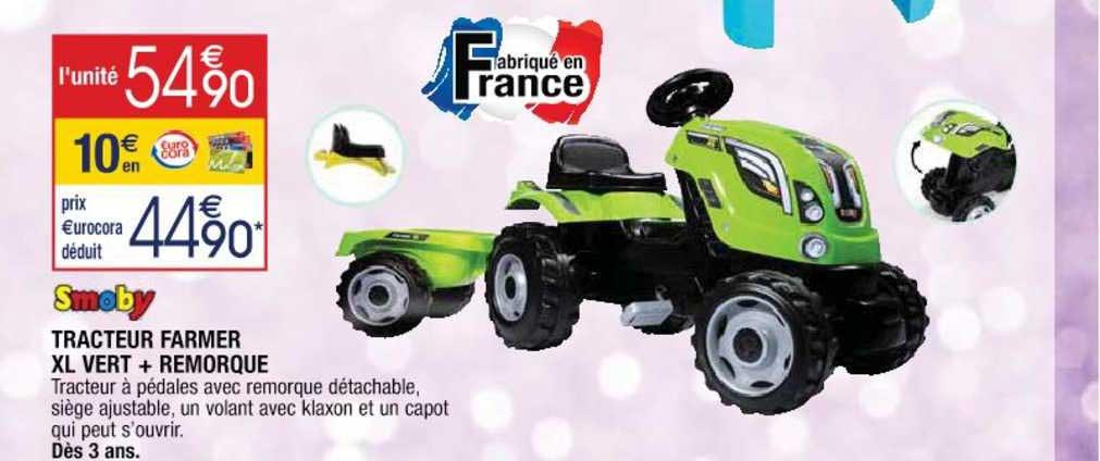 Cora Smoby Tracteur Farmer Xl Vert + Remorque