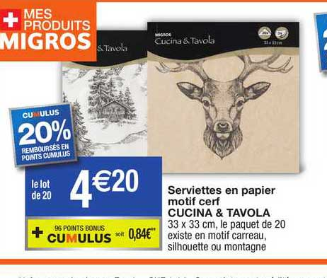Migros France Serviettes En Papier Motif Cerf Cucina & Tavola