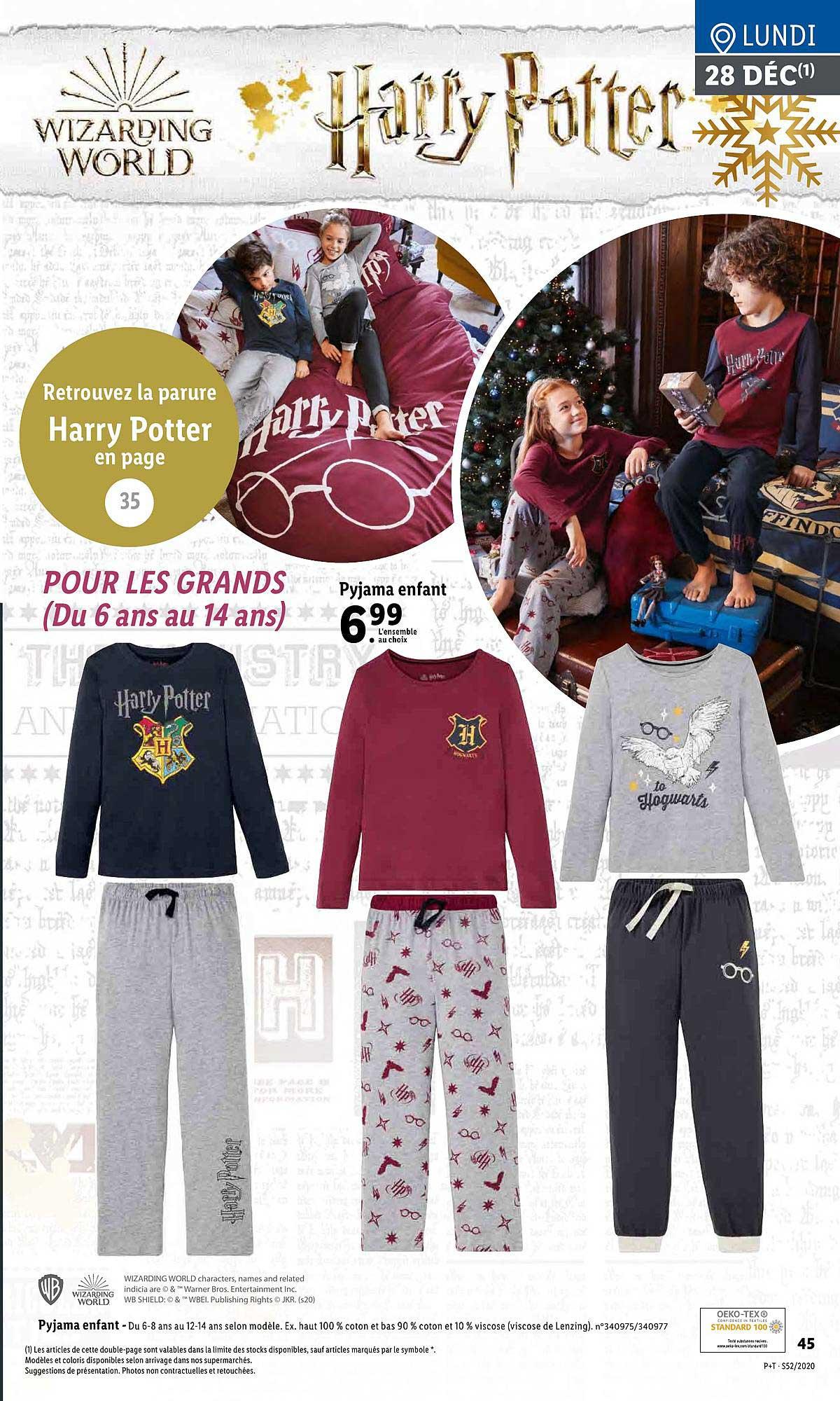 Lidl Pyjama Enfant Harry Potter