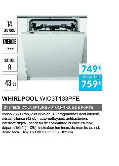 Copra Whirlpool Wio3t133pfe Système D'ouverture Automatique De Porte