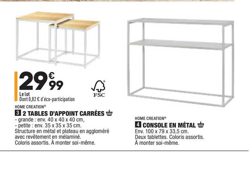 Aldi 2 Tables D'appoint Carrées, Console En Métal