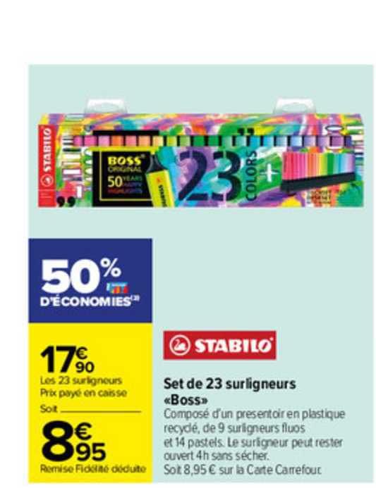 Carrefour Set De 23 Surligneurs «boss» Stabilo