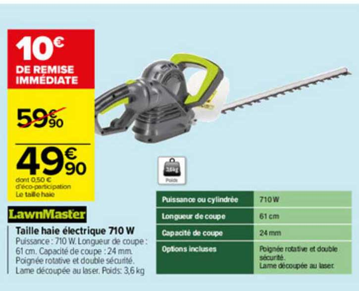 Carrefour Taille Haie électrique 710w Lawnmaster