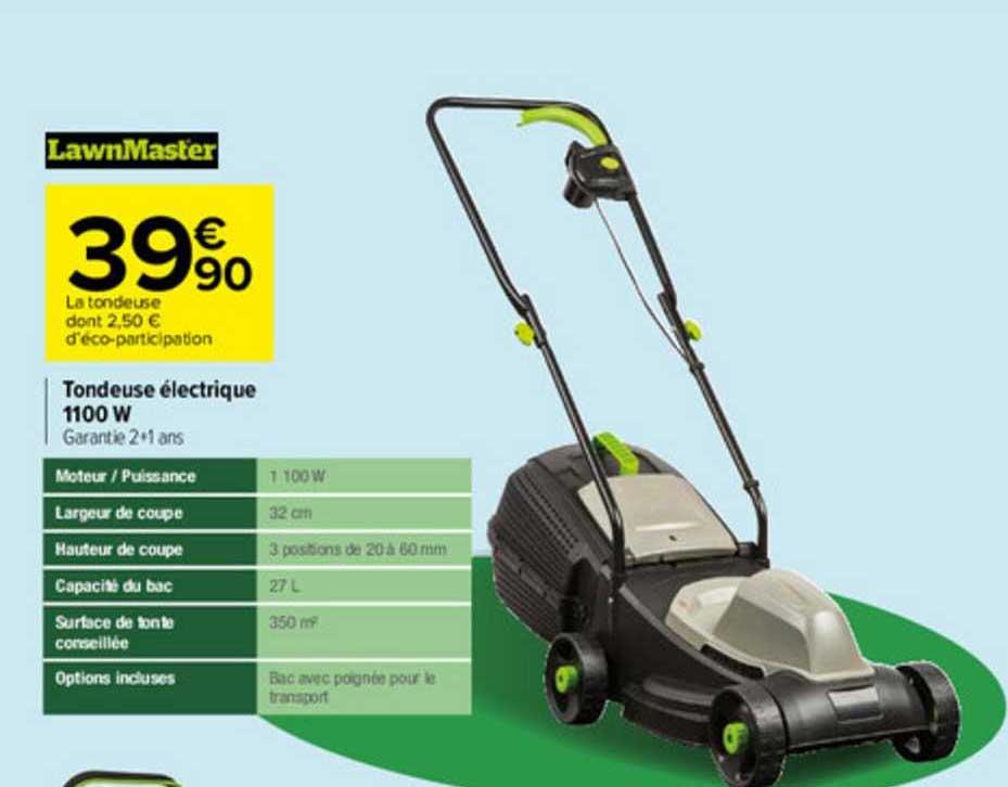 Carrefour Tondeuse électrique 1100 W Lawnmaster