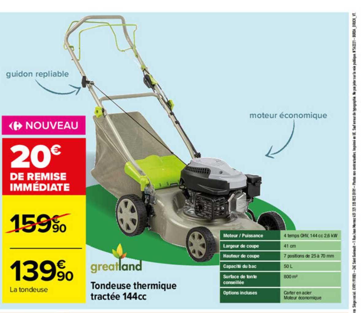 Carrefour Tondeuse Thermique Tractée 144cc Greatland