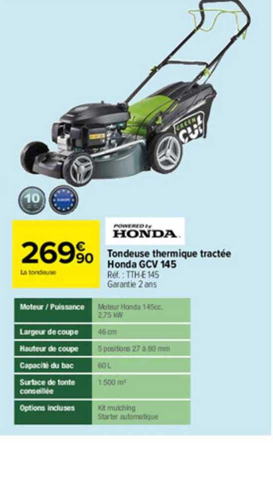 Carrefour Tondeuse Thermique Tractée Honda Gcv 145