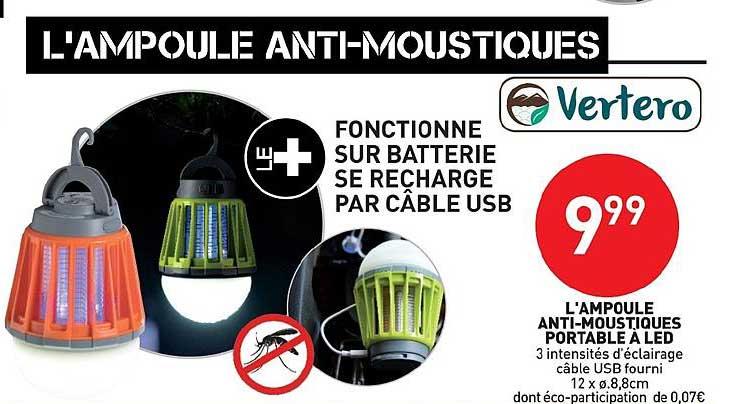 Stokomani L'ampoule Anti Moustiques Portable à Led Vertero