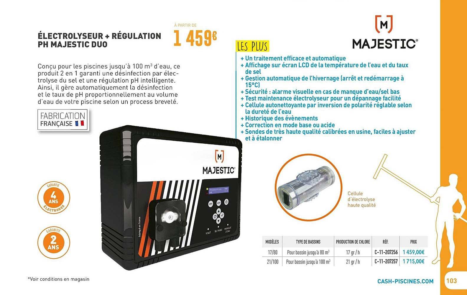 Cash Piscines électrolyseur + Régulation Ph Majestic Duo