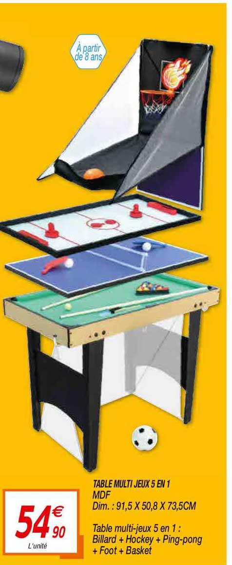 Netto Table Multi Jeux 5 En 1 Mdf