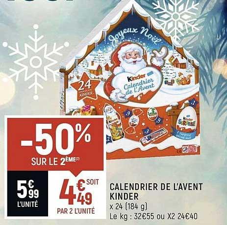 Spar Calendrier De L'avent Kinder -50% Sur Le 2ème
