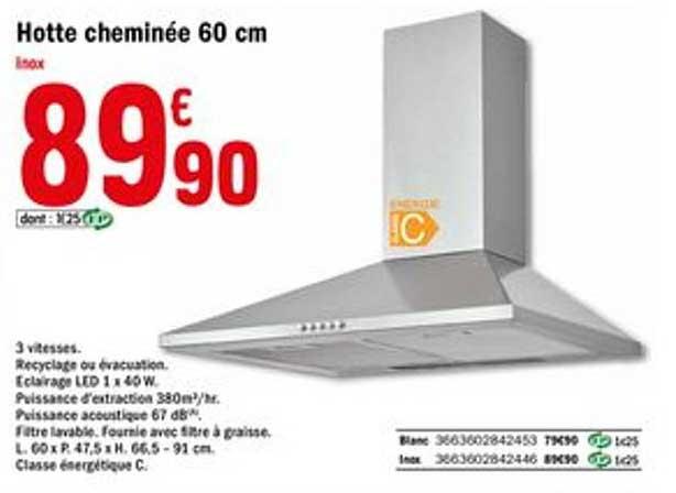 Offre Hotte Cheminee 60 Cm Chez Brico Depot