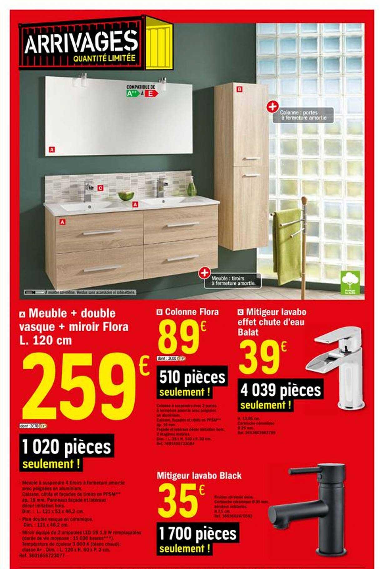 Offre Meuble Double Vasque Miroir Flora L 120 Cm Chez Brico Depot