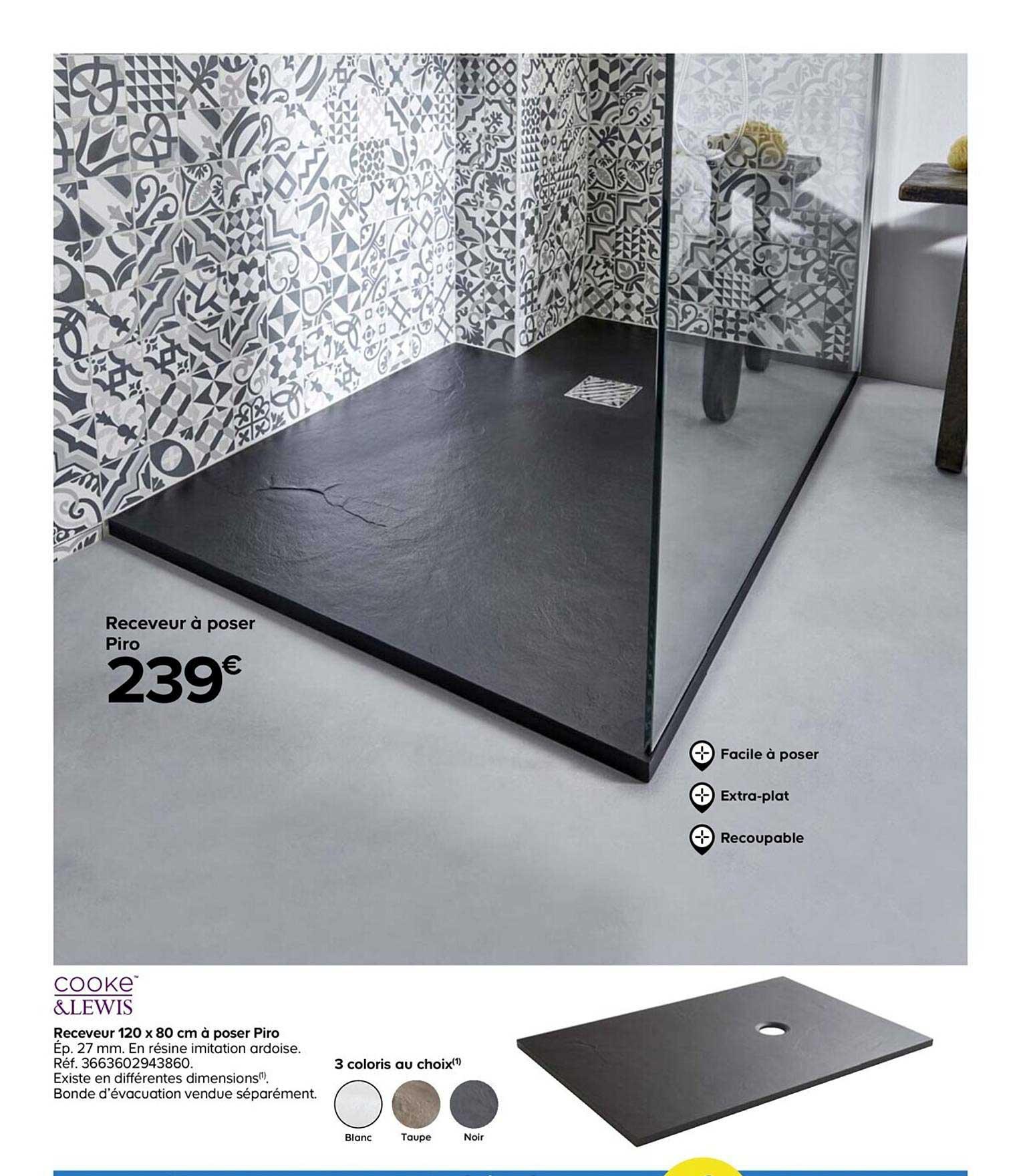 Castorama Cooke&lewis Receveur 120x80 Cm à Poser Pro