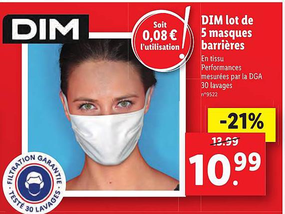 Lidl Dim Lot De 5 Masques Barrières