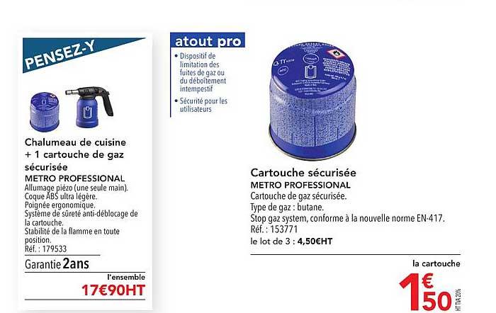 METRO Chalumeau De Cuisine + 1 Cartouche De Gaz Sécurisée Metro Professional