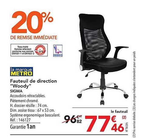 METRO Fauteuil De Direction Woody Sigma 20% De Remise Immédiate