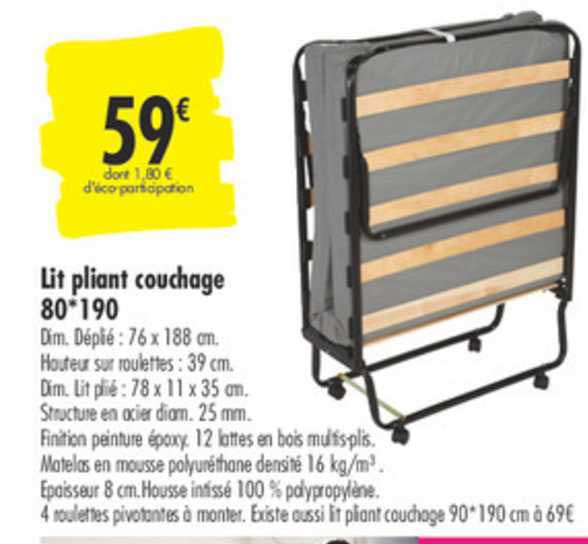 Carrefour Lit Pliant Couchage 80*190