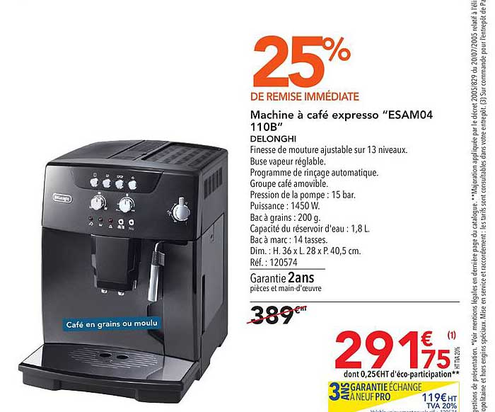 METRO Machine à Café Expresso Esam04 110b Delonghi 25% De Remise Immédiate