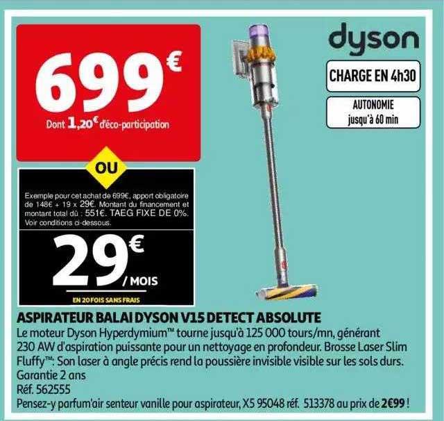 Auchan Aspirateur Balai Dyson V15 Detect Absolute