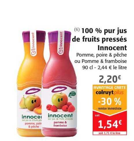 Offre 100 % Pur Jus De Fruits Pressés Innocent -30% Remise ...