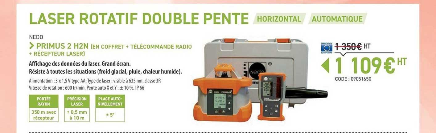 Loxam Laser Rotatif Double Pente Horizontal Automatique Primus 2 H2n Nedo