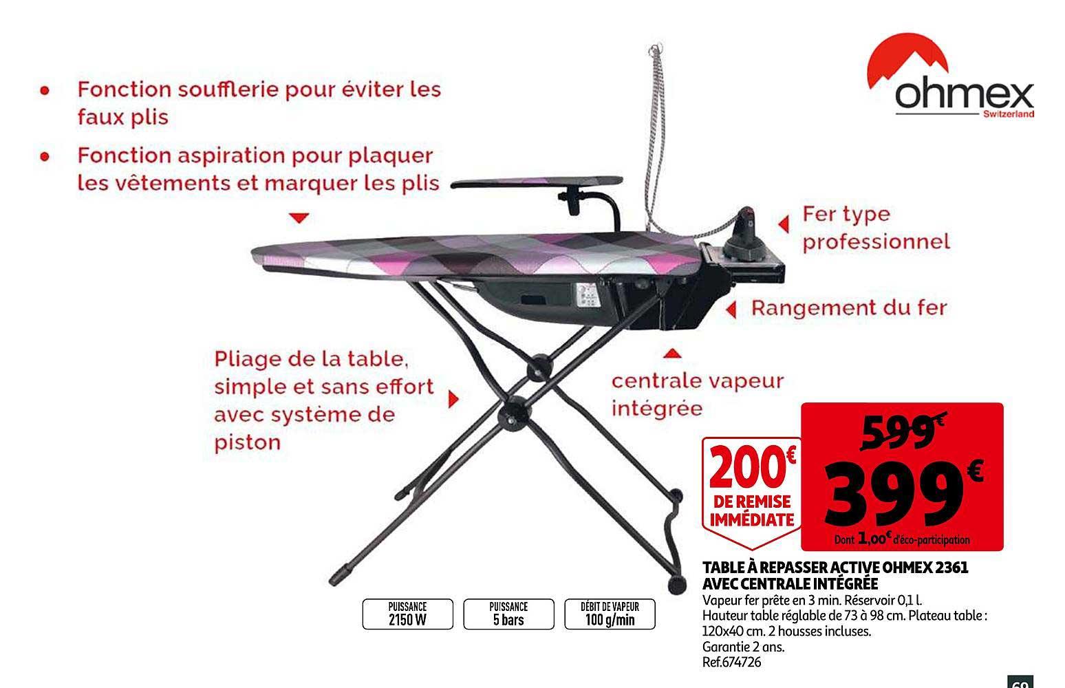 Offre Table à Repasser Centrale Vapeur Brabantia chez Auchan