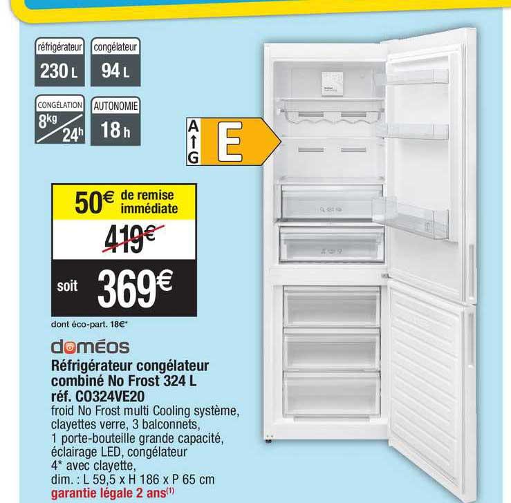 Migros France Réfrigérateur Congélateur Combiné No Frost 324 L Doméos Réf. Co324ve20