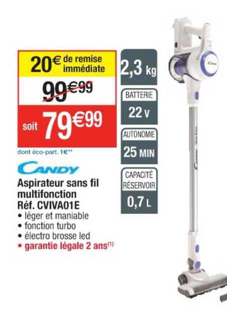 Cora Aspirateur Sans Fil Multifonction Réf. Cviva01e Candy