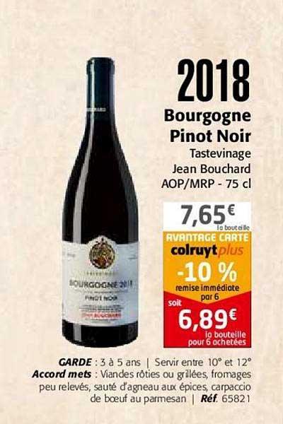 Colruyt 2018 Bourgogne Pinot Noir Tastevinage Jean Bouchard Aop Mrp