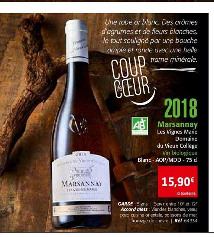 Colruyt 2018 Marsannay Les Vignes Marie Domaine Du Vieux Collège Vin Biologique