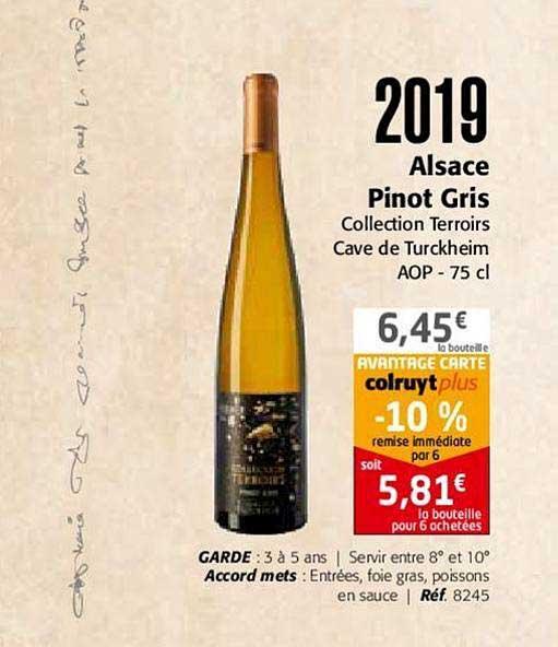 Colruyt 2019 Alsace Pinot Gris Collection Terroirs Cave De Turckheim Aop
