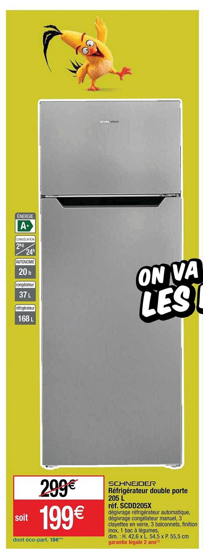 Cora Réfrigérateur Double Porte 205 L Schneider Réf. Scdd205x