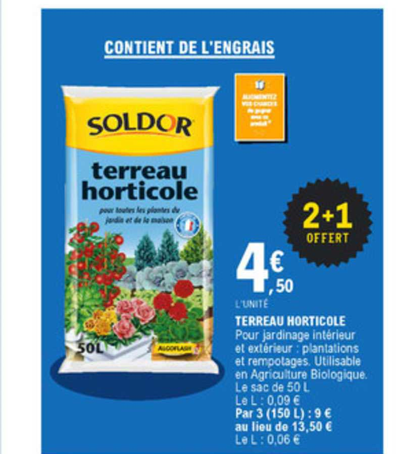 E.Leclerc Terreau Horticole 2+1 Offert