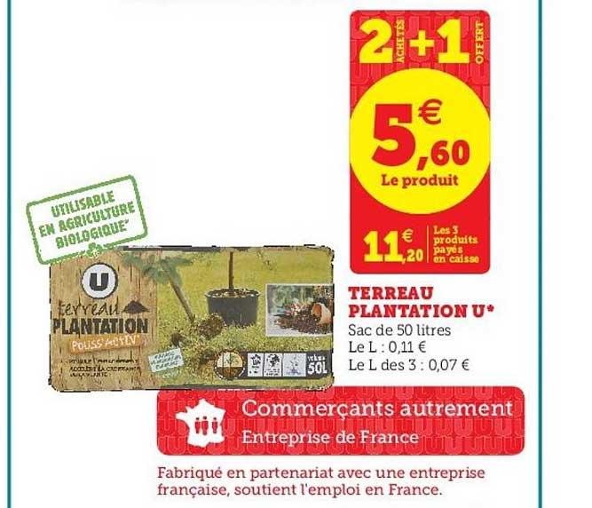 Super U Terreau Plantation U 2 Achetés + 1 Offert
