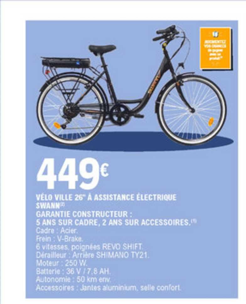 E.Leclerc Vélo Ville 26'' à Assistance électrique Swann