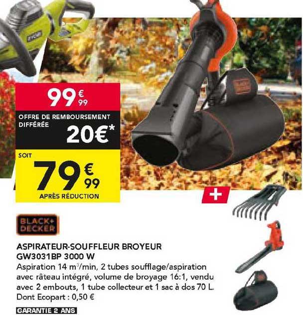 Les Briconautes Black+decker Aspirateur-souffleur Broyeur Gw3031bp 3000 W