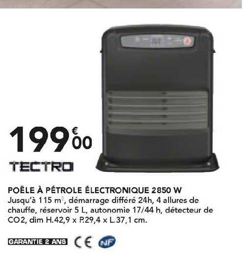 Les Briconautes Tectro Poêle à Pétrole électronique 2850 W