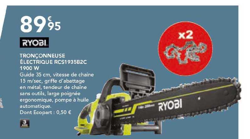 Les Briconautes Tronçonneuse électrique Rcs1935b2c 1900 W Ryobi