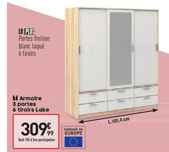Offre Armoire 3 Portes 6 Tiroirs Lake Chez Conforama