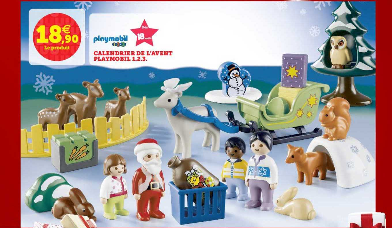 Offre Calendrier De L'avent Playmobil 1.2.3. Playmobil chez Super U