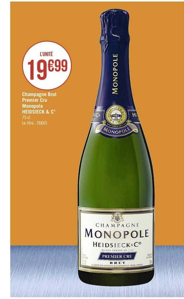 Casino Supermarchés Champagne Brut Premier Cru Monopole Heidsieck & C°