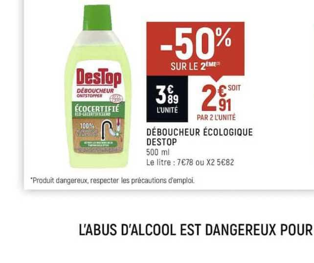 Spar Déboucheur écologique Destop -50% Sur Le 2ème