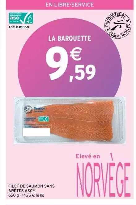 Intermarché Filet De Saumon Sans Arêtes Asc